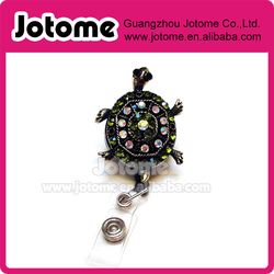 Rhinestone Green Turtle Bling ID badge holder retractable reel