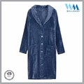 OEM Supplier Flexible MOQ front opening hotel terry Navy bathrobe