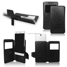 Universal removable clip slim pu leather phone case for samsung/ huawei/HTC/iPhone