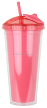 Cheap drinking bottle plastic travel cups with straw