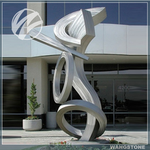 Outdoor ornaments large stainless steel abstract brushed sculpture