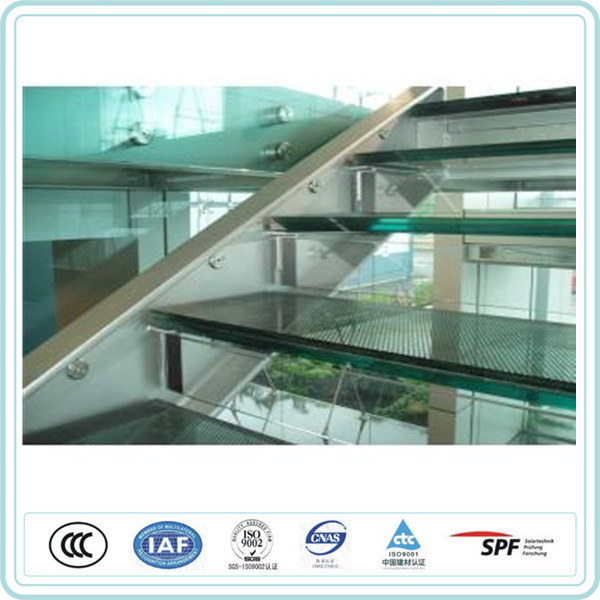 One/1 inch thick stair clear/black laminated glass