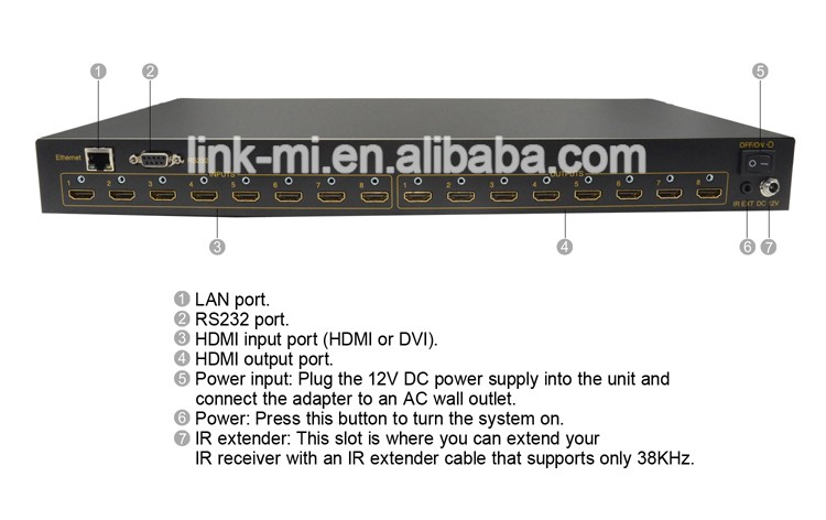 LINK-MI LM-HD808 high quality 8x8 HDMI Matrix Switch 8 input channels 8 output channels Video Output HDMI 1.3 With 3D
