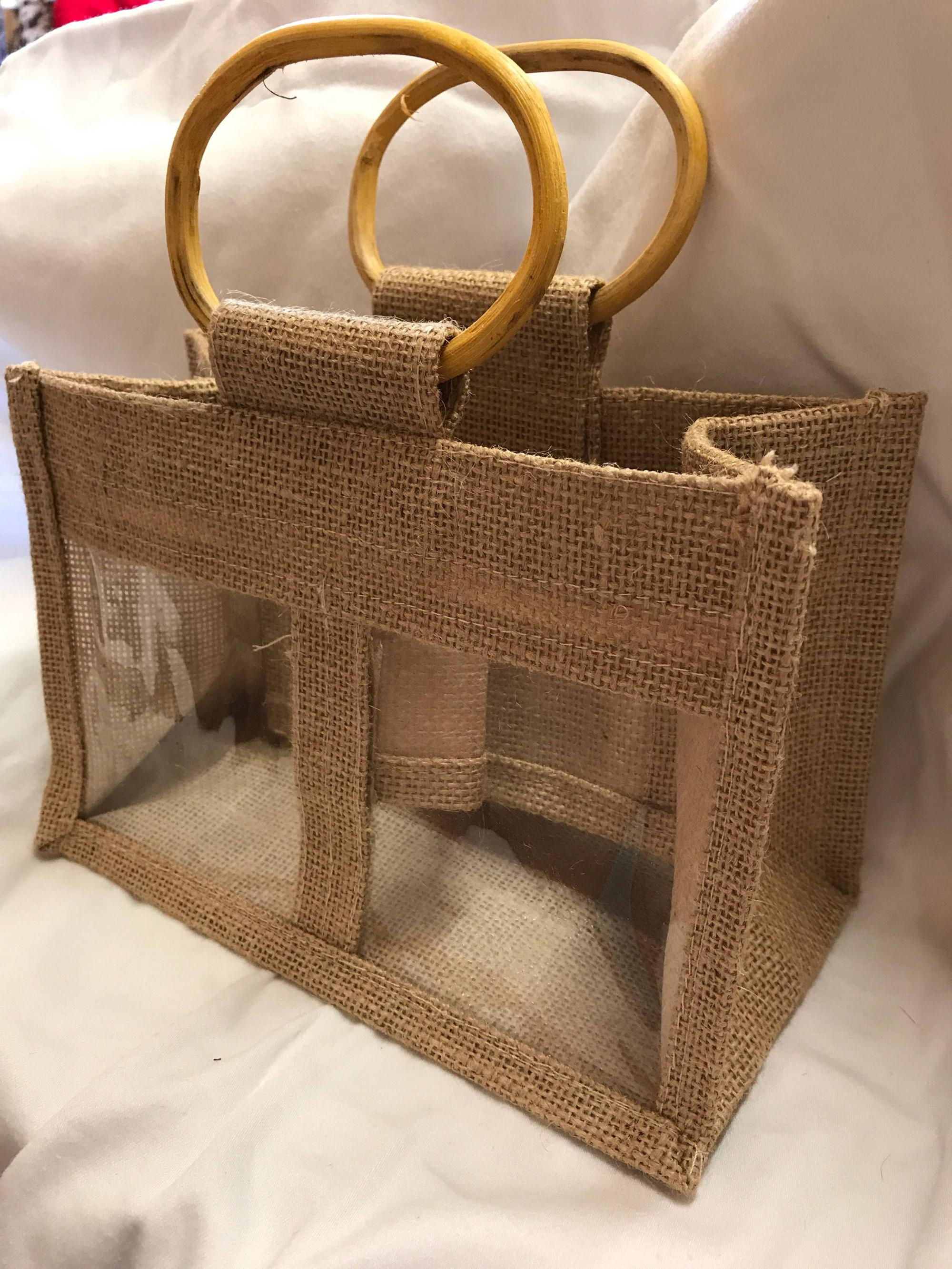 Double window wedding favor jute gift bag for two jars