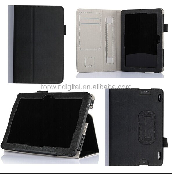 Hot Sale Cowhide Skin Stand Leather Folio Cover Case For Amazon Kindle Fire HDX 7 With Holder