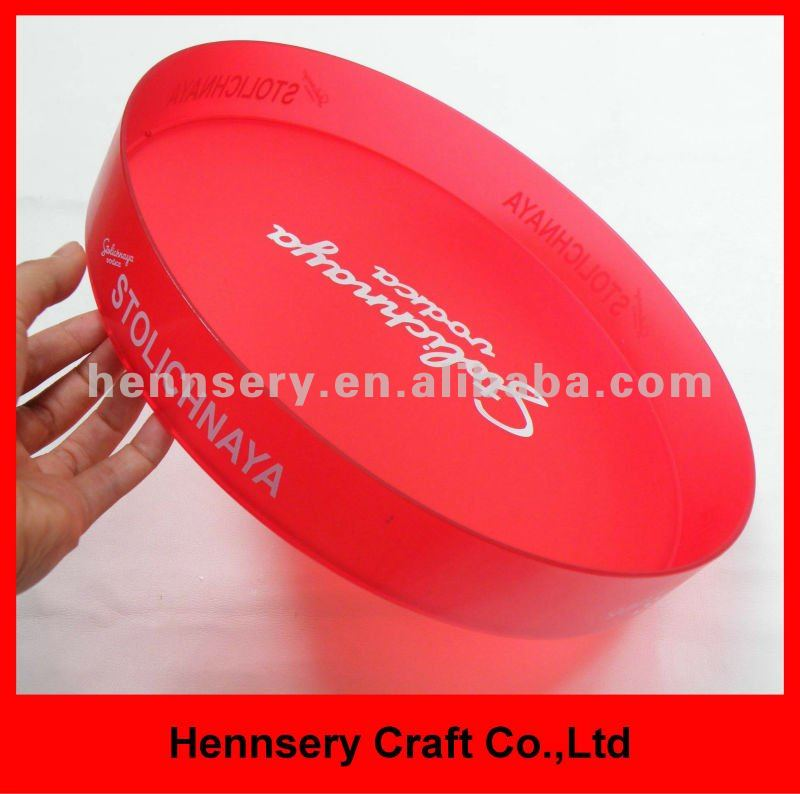 transparent anti slip large plastic round serving tray beer tray bar drip tray