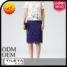 latest hot selling elegant purple pencil lace skirt for ladies