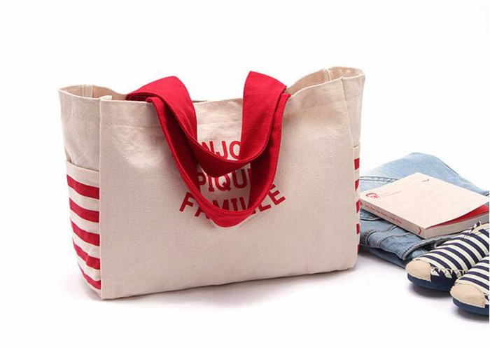 Red stripe custom logo simple design cotton Shopping Bag