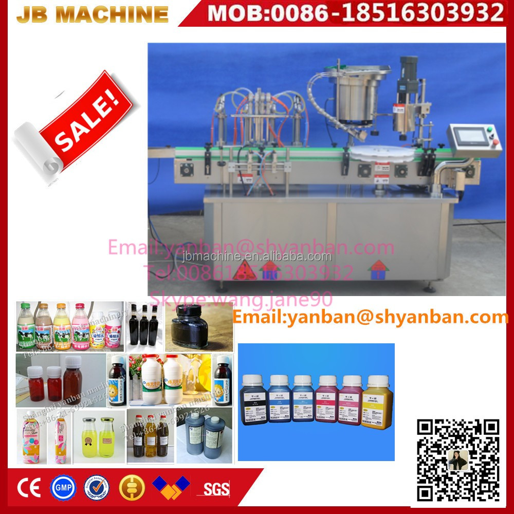 Small scale glass bottled juice filling and capping machinery,ink bottle filler machine