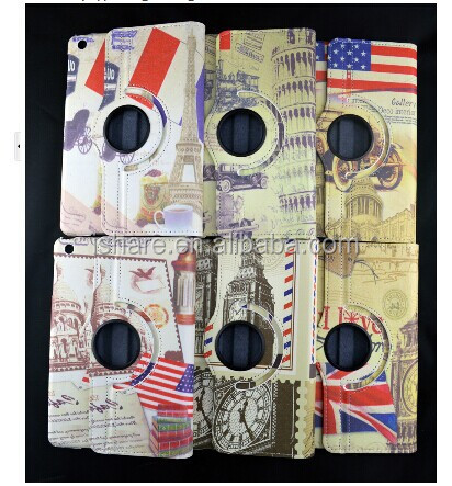 Vintage Great Britain Flag Leather Case With Rotating Stand for Apple ipad 5 ipad air