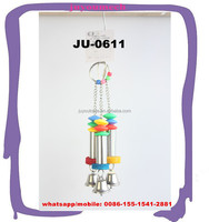 Cages hang pet parts plastic beads stainless steel bars bird playing toys with bells JU-0611