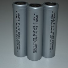 Factory price 18650 35 AMP High Drain 2500mah Rechargeable Battery Flat Top