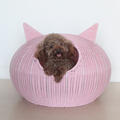 Wholesale in bulk beautiful Picachu cat shape rattan pet bed cat cage large size indoor dog house