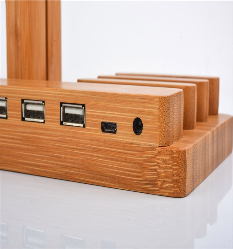4 usb bamboo 4-Port Hub USB Desktop Universal Charging Station Multi Charger Dock
