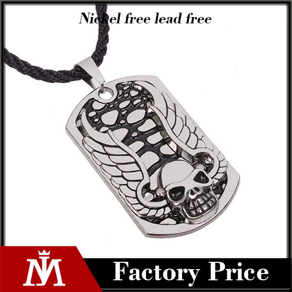 Men Stainless Steel Gothic Skull Wings Dog Tag Necklace