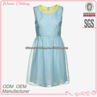 High fahsion stylish blue sleeveless short korea summer fashion dress 2014