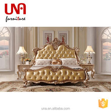 European luxury Antique king size bed wooden carved french antique furniture Arabic style golden furniture gold color design