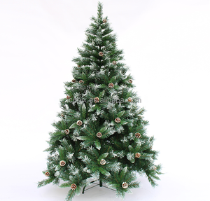 6FT /180cm Nature Pinecones Decoration White Snowing Artificial Christmas Trees