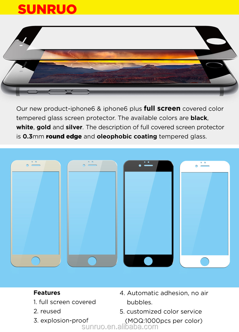 Full screen cover color tempered glass screen protector for iphone6