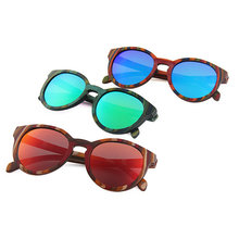 Blue Lenses Color and Wooden Frame Material fishing sun glasses