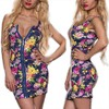 Floral Women Sexy Party Dress Sleeveless Slim Zipper Cocktail Bodycon Mini Dress