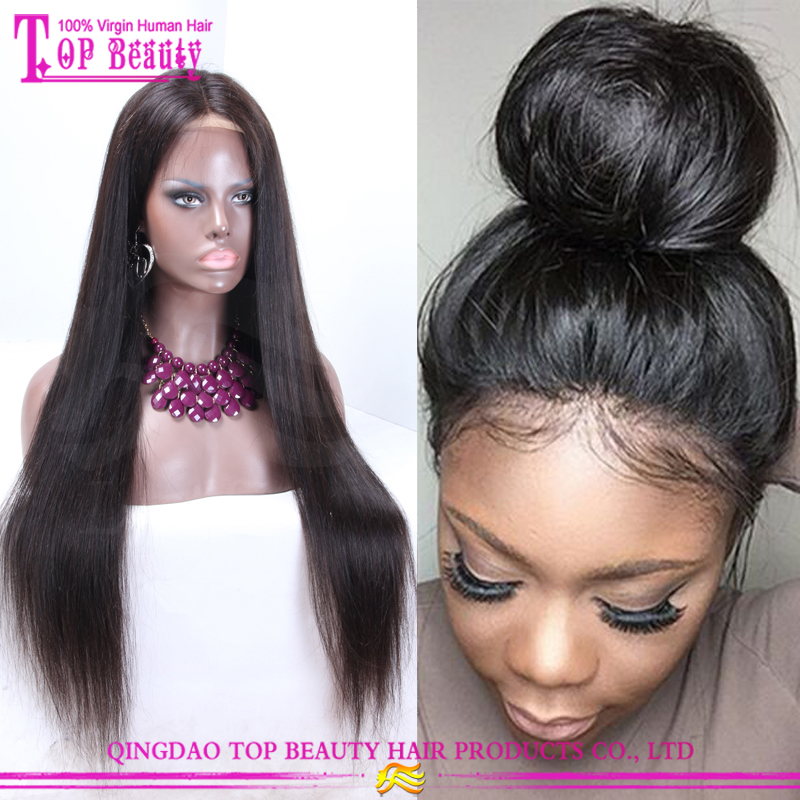 Qingdao Factory Virgin 13x6 Lace Front Wig Brazilian Human Hair 26 Inches Silky Straight Long Hair Wig for Women