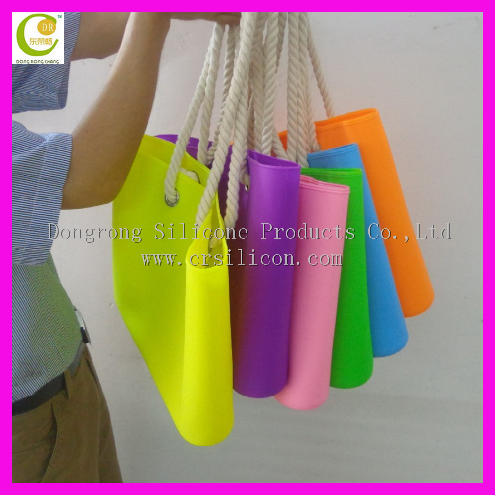 Dongguan Manufacture Fashion Silicone Beach Bag with Rope Custom Tote Bag Silicone Shopping Bag