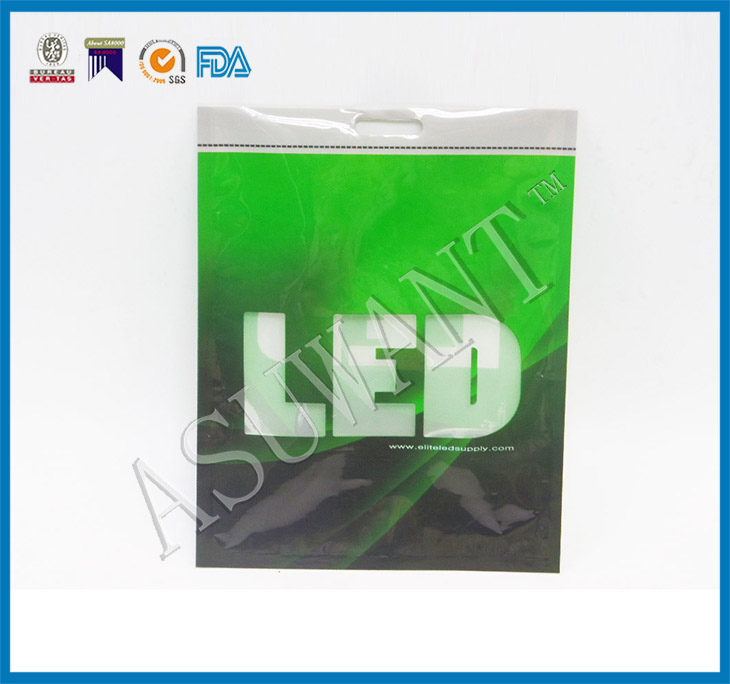 shiny printed led plastic packaging bag with hook led packing bag with handle