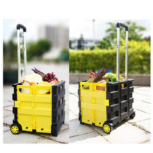PP Plastic Supermarket Folding Cart Foldable Trolleys Disable Shopping Cart