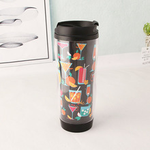 Shenzhen promotional double wall clear acrylic plastic coffee tumbler with advertising removable paper insert