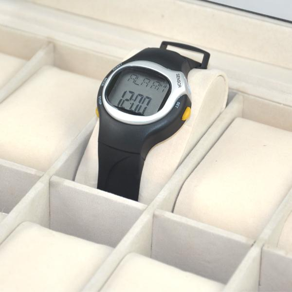 10 Grid Watches Display Storage Box Case Jewelry Faux Leather Black Fashion