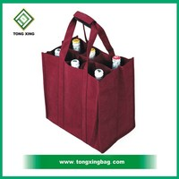 newest hot custom non woven wine tote bag for six bottles