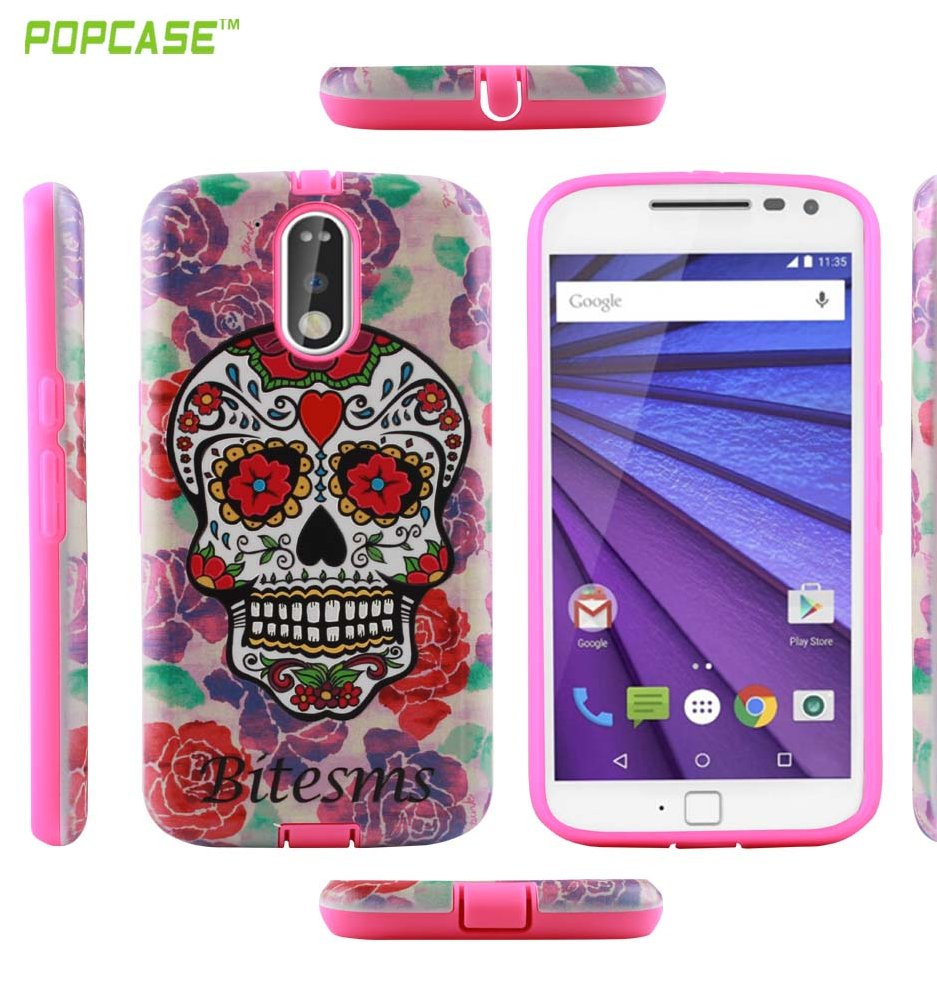 Latest design shockproof high relief 3D printing PC+TPU mobile phone case for MOTO G4