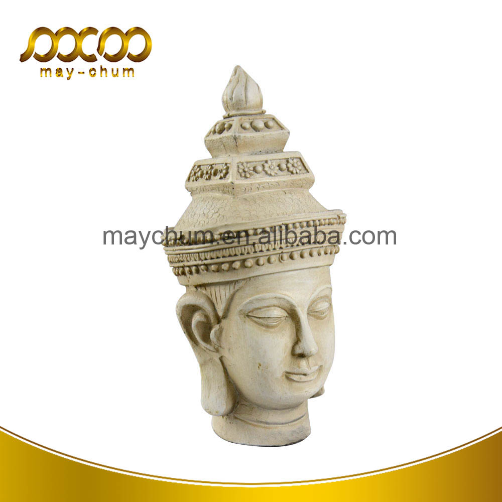 Life Size Home Decorative White Religion Buddha Head Resin Sculpture