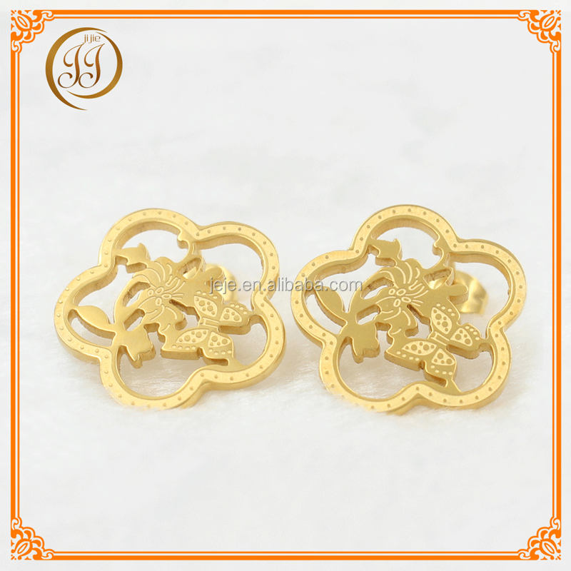 For women stainless steel earrings jewelry gold earrings 2013 new design