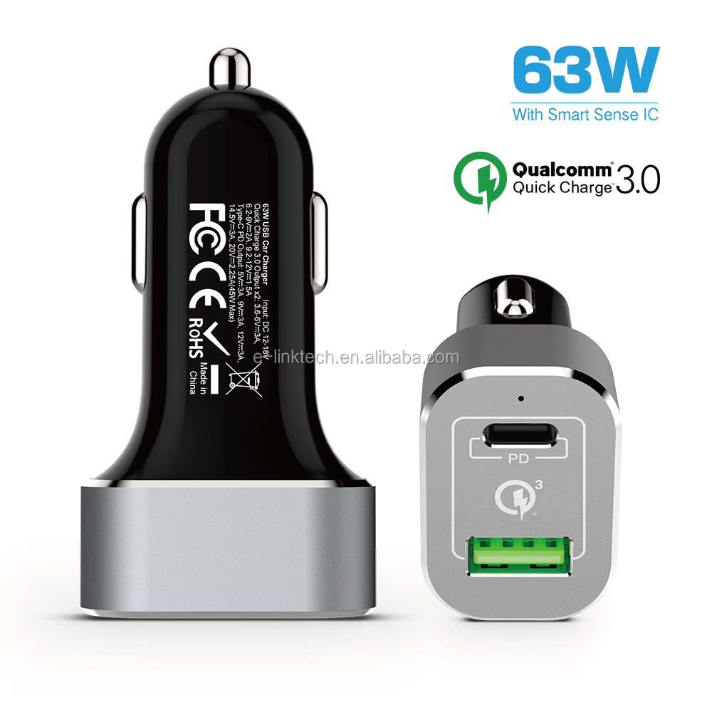 63W Quick Charge 3.0 Type-C 2 Port USB Car Charger PD Car Apater for Macbook Pro for iPhone for Samsung
