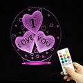 Wedding gifts 3d creative three heart love led colorful night light 2018 Amazon hot gifts of 3D lamp