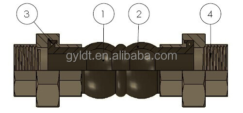 DN40 Two Sphere Union Rubber Expansion Joints