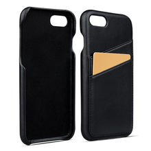 Fully back cover two card holder genuine leather phone case for iPhone 8