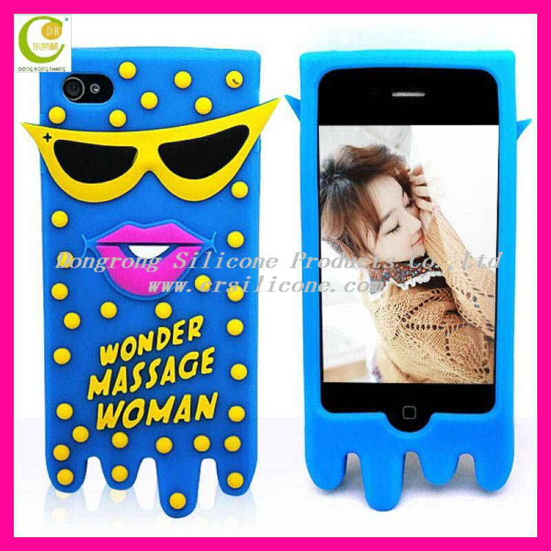 World special design embossed/debossed 2D/3D cartoon silicon animal case for iphone 5/4/4S(welcome OEM/ODM-Vampire diary)