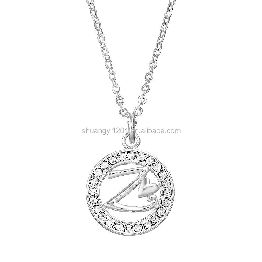 Custom Crystal Z letter Initial round full stones Pendant necklace