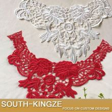 Red White floral Embroidery Venise Lace Applique Collar Neckline