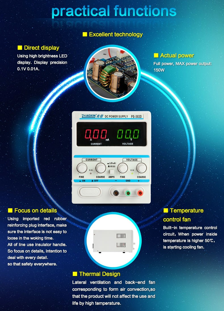 ZHAOXIN PS-302D High precision voltage stabilizer with A/mA transform