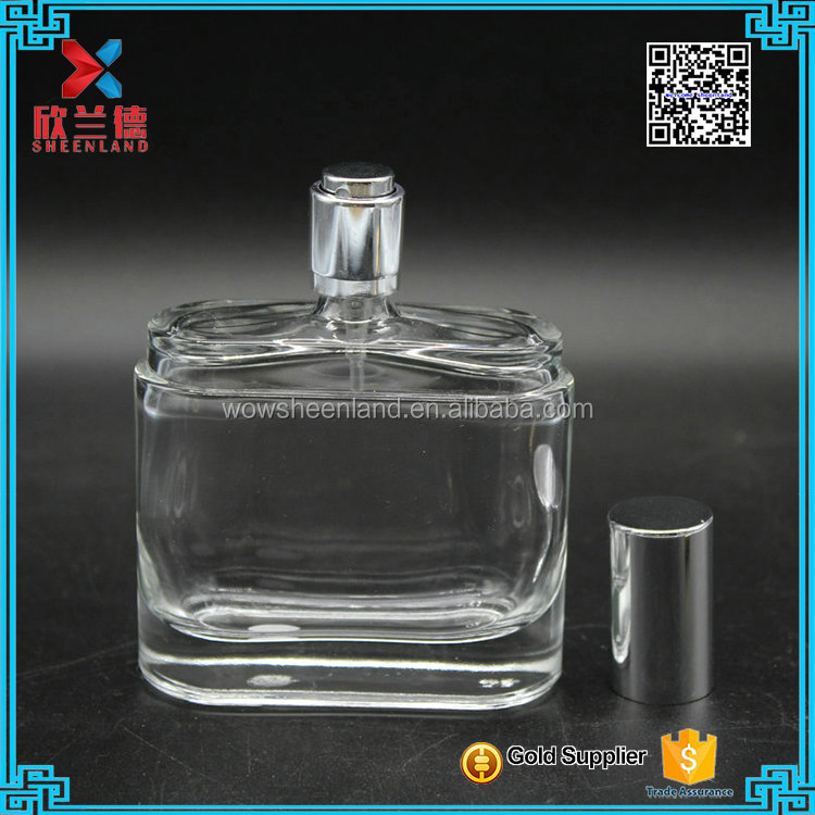 white glass bottle;unique shoulder design 80ml empty glass scent perfume bottle with metal collar and spray pump