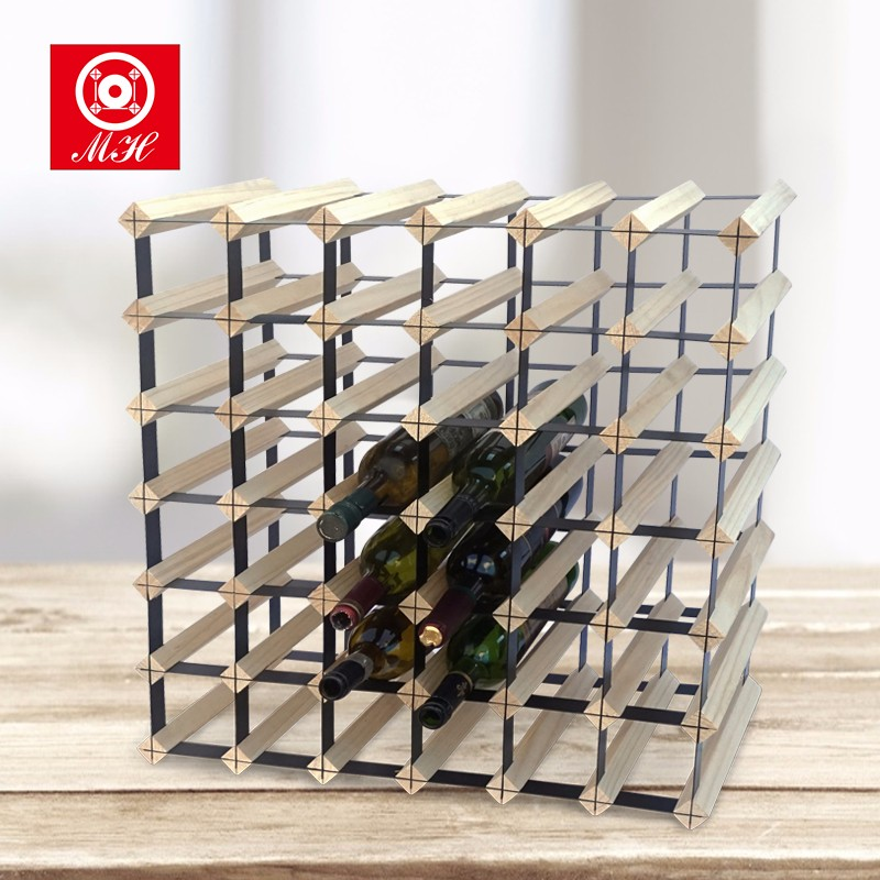 OEM 72 bottles solid pine wood wine rack for sale