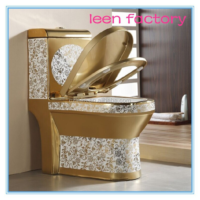 Ceramic golden wc bathroom closestool gold color toilet for hotel