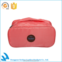 Korea design pink polyester cosmetic bag, makeup kits organizer case