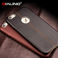 QIALINO Dropshipping Case, Ultra Slim Real Natural Leather Back Cover For iPhone 6 6s Plus