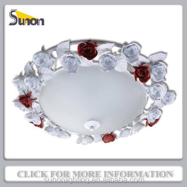 Rose flower red and white iron circular decoration flush mount ceiling lamp