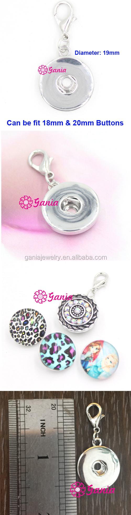 Fashion Interchangeable Pendant Charm 18mm Button Snap Pendant Jewelry for Necklace Bracelet Earrings